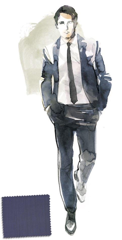 Un classico del guardaroba maschile  l abito blu. Illustrazione Karin  Kellner 4139c09e5a8