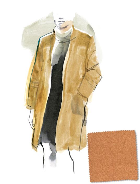 0700260d3744 Il cappotto color cammello  un classico dell abbigliamento maschile e  femminile. Illustrazione Karin Kellner